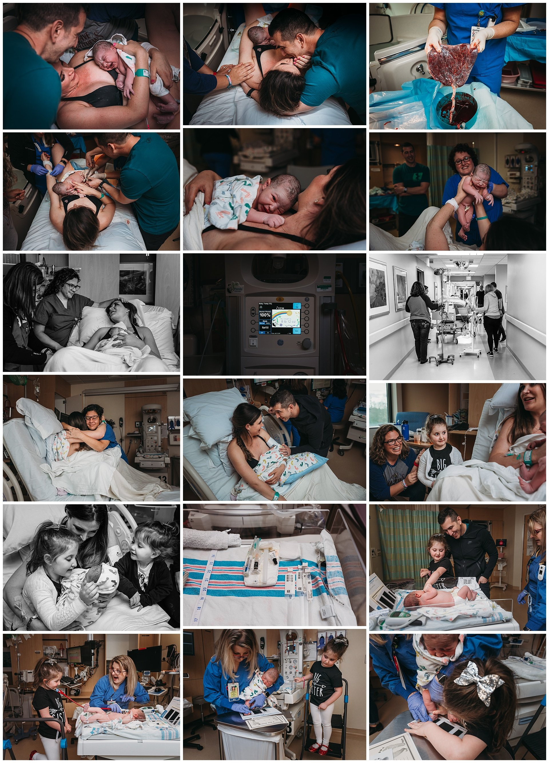 Baby photos in the hospital after natural birth